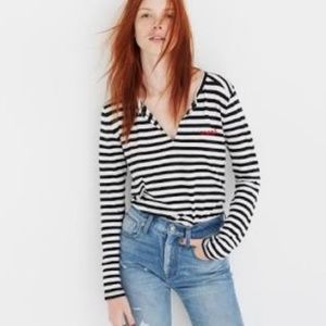 "Madewell Striped ""Mwah"" Kiss Shirt • Small"
